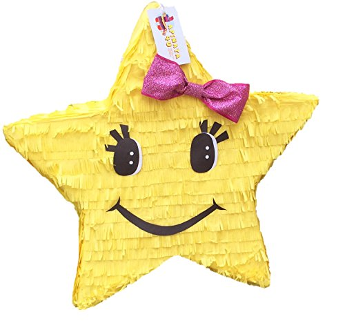 APINATA4U Yellow Star Pinata with Pink Bow (Mario Star Pinata)