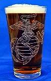 Custom Etched USMC Emblem on 16 Oz Pint Glass Set of 4 For Sale