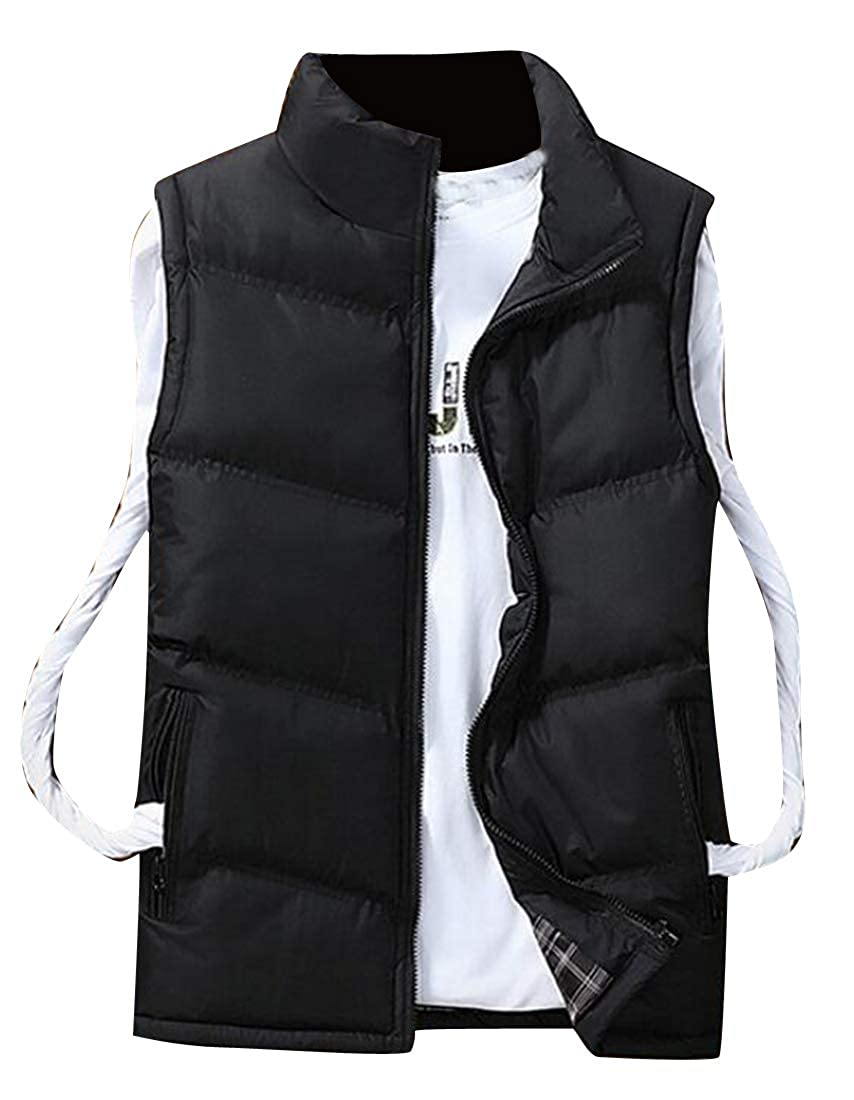 MOUTEN Mens Zipper Stand Collar Thickened Sleeveless Winter Down Quilted Coat Vest Waistcoat