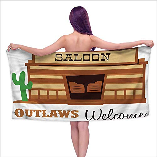 Andasrew Absorbent Towel Western,Outlaws Welcome Historic,W10 xL39 for Men red ()