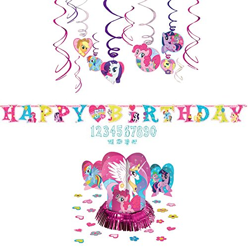 My Little Pony Decoration Party Supplies Pack - Hanging Swirls, Jumbo Letter Banner, and Table Decorating Kit
