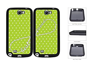 Lime Green Polka Dot Infinity Best Friends Set Rubber Silicone TPU Cell Phone Case Samsung Galaxy Note 2 II N7100