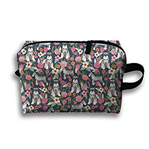 Merry Christmas Flower Pug Toiletry Bag Cosmetic Case Bag Medicine Bag Toiletry Pouch Organizer Clutch Bag With Zipper For Daily Life,Travel And More