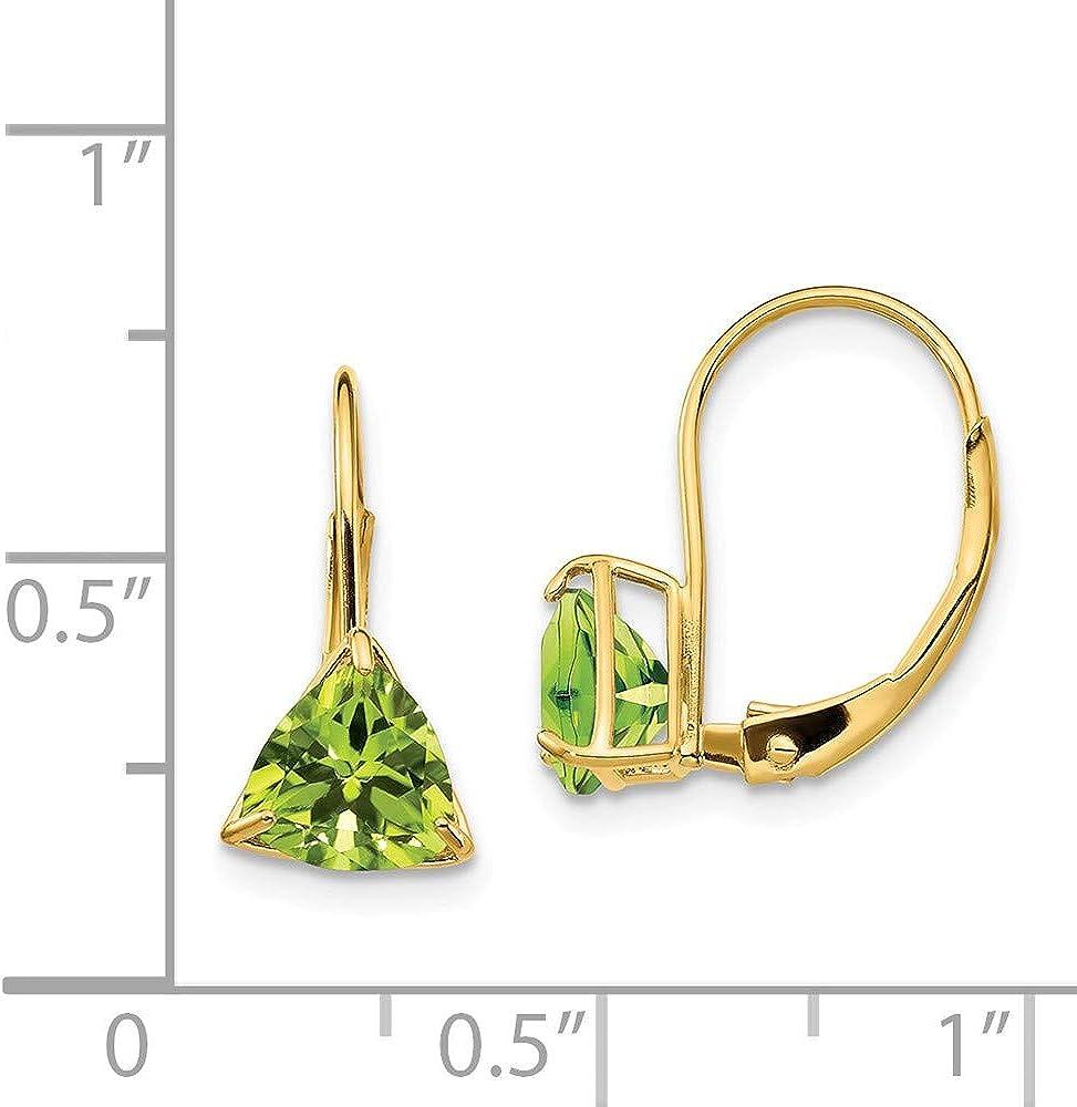 Mia Diamonds 14k Yellow Gold 6mm Trillion Peridot Leverback Earrings