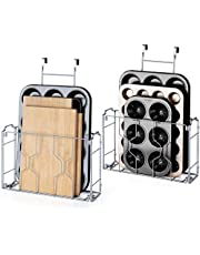 Bextsware 2 Pack Over the Door/Wall Mount Cabinet Organizer Storage Basket in Kitchen or Pantry for Cutting Board, Aluminum Foil, Plastic Wrap, Mesh Silver