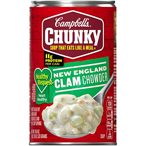 New England Clam Chowder - Campbell's Chunky Healthy Request New England Clam Chowder, 18.8 oz. Can (Pack of 12)