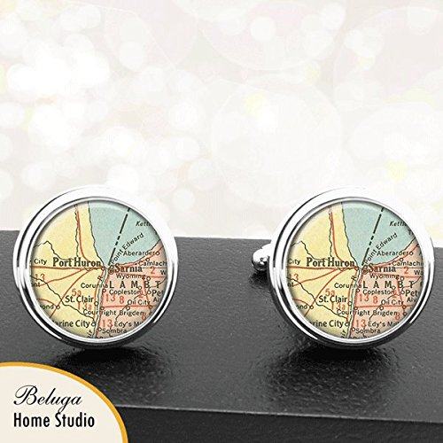Map Cufflinks Port Huron Sarnia Ontario Province Canada Map Cufflinks Handmade Cuff Links Antique Maps ()