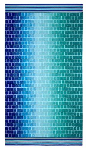 ized Jacquard Double Woven Velour Beach Towel 39x68 - Tile Blue Teal - Thick Plush Luxurious Velour Pile - 450 GSM - 100% Pure Ringspun Cotton - Brilliant Intense Vibrant Colors (Tropical Beach Towels)