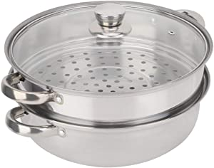 Queen.Y Stainless Steel Steamer Pot Set,2-Layer Stainless Steel Steamer Pot,Steamer Pot Cooker Double Boiler Soup Steaming Pot for All Cooking Surfaces