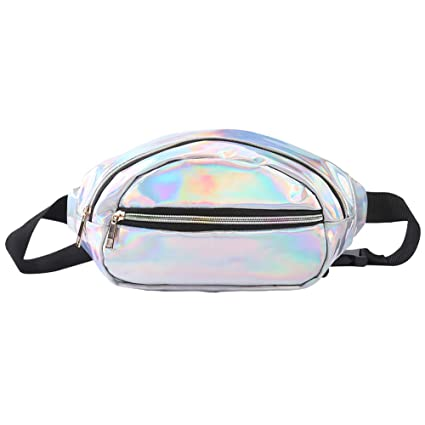 9dda4fb7ef39 JIGSEAME Holographic waterproof fanny packs for women. Fashion leather  fanny pack bum waist pack for travel,raves,festivals,running,hiking