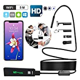 GUYO WiFi Wireless Endoscope 2.0MP 1200P Full HD Inspection Camera,IP68 Waterproof Borescope with 8 LED Lights,Semi-Rigid Cable Snake Camera for iPhone Android Smartphones,Table PC,iPad 16.5FT(5M)