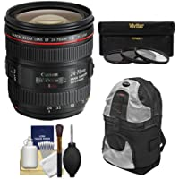 Canon EF 24-70mm f/4L IS USM Zoom Lens with 3 Filters + Backpack Kit for EOS 6D, 70D, 7D 5D Mark II III, Rebel T3, T3i, T5, T5i, SL1 DSLR Camera