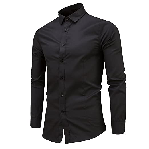 23342472886 Mens Formal Basic Dress Shirts Long Sleeve Button Solid Shirt Casual Slim  Fit Blouse Top Zulmaliu