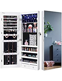 8 LED Mirror Jewelry Cabinet, Jewelry Armoire Organizer with Full Screen Mirror, Wall/Door Mounted, Full Length Mirror, White