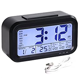 HandAcc Digital Alarm Clock, Backlight LCD Large Display Smart Clock with 3 Alarms, Battery Rechargeable with USB Charger (Black)