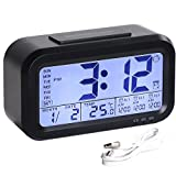 HandAcc Digital Alarm Clock, Backlight LCD Large Display Smart Clock with 3 Alarms, Battery Rechargeable with USB Charger, Black