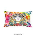 VROSELV Custom pillowcasesAnimal Tiger Head with Ornaments Butterflies and Roses Human Figures Lotus Position Globes for Bedroom Living Room Dorm Multicolor(12''x24'')
