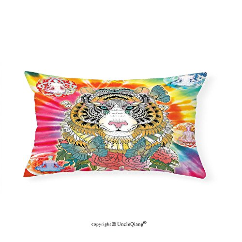 VROSELV Custom pillowcasesAnimal Tiger Head with Ornaments Butterflies and Roses Human Figures Lotus Position Globes for Bedroom Living Room Dorm Multicolor(12''x24'') by VROSELV