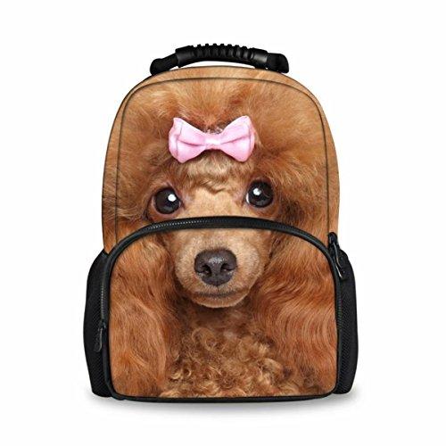 - Showudesigns Cute Felt Fabric Children Kids School Backpack Poodle Puppy School Bags