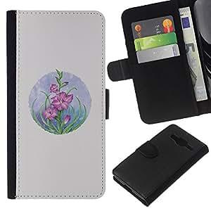 WINCASE Cuadro Funda Voltear Cuero Ranura Tarjetas TPU Carcasas Protectora Cover Case Para Samsung Galaxy Core Prime - flores tarjeta de dibujo en colores pastel