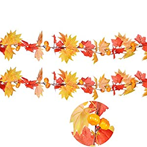 """DearHouse 78"""" Artificial Maple Leaf and Pumpkins Garland Decorated Maple Leaf Garland Vine with Pumpkin Plants Hanging Rattan for Home Kitchen Wreath Wedding Decor 9"""