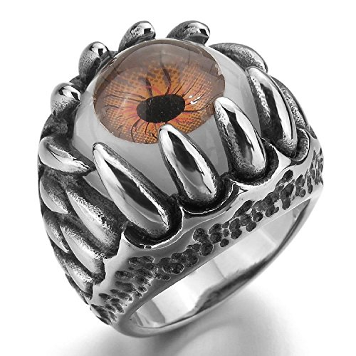 Kalendone Men's Stainless Steel Resin Ring Silver Black Brown White Skull Dragon Claw Evil Devil Eye Ring Gothic Ring US Size 11 Jewelry