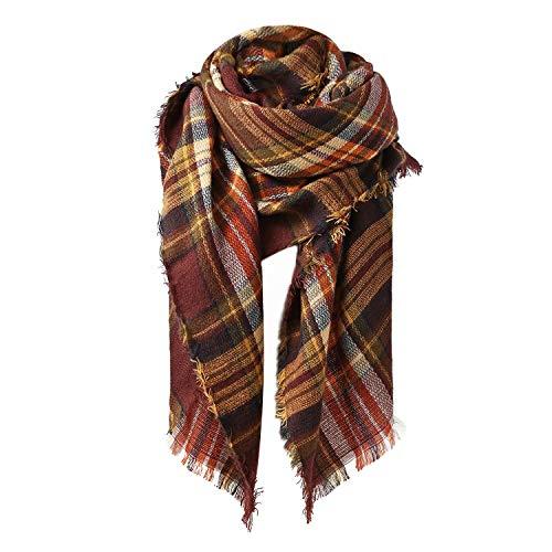 Zando Plaid Blanket Scarf Fall Tartan Scarf Winter Warm Plaid Scarf Shawl Cape Cozy Blanket Scarves Fashion Scarves Wrap Coffee Blanket Scarf