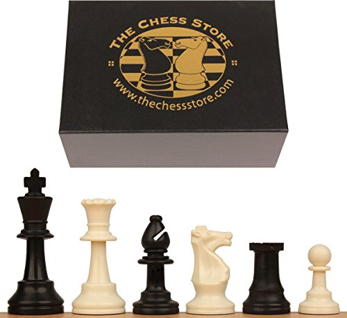 Plastic Square Chess (The Chess Store Club Plastic Chess Set Black & Ivory Pieces with Box - 3.75