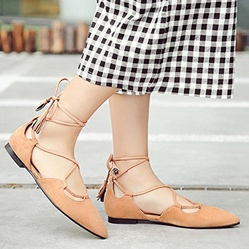 COOLCEPT Zapato Mujer Moda Clasico Cordones Tacon de Vaquero Ballerina Zapato Amarillo