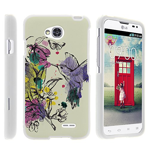 LG Optimus L70 Case, LG Ultimate 2 Case, Stylish Snug Fitted Hard Protector Cover Snap On Case with Customized Design for LG Optimus L70 MS323, LG Optimus Exceed 2 VS450PP, LG Realm LS620, LG Ultimate 2 L41C (Metro PCS, Verizon, Boost Mobile) from MINITURTLE | Includes Clear Screen Protector and Stylus Pen - Hummingbird Flowers (Lg Realm Phone Boost Mobile)