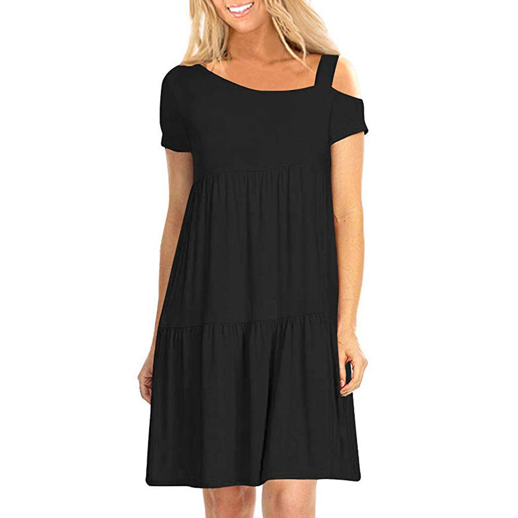 Women Solid Mini Dress,Ladies Sexy Cold Shoulder Asymmetrical Strapless Ruffled Pleated Short Sleeve Short Dress by Dacawin_Women Dress