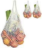 Cotton Reusable Grocery Bags - Net Bag String Shopping Bag Produce Bags Beach Bags Mesh Bags Foldable Tote Set of 3 Short Handles