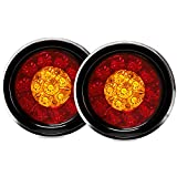 4'' Inch Round LED Truck/Trailer Amber/Red Taillights with Rubber Grommet 16LED DC 12V Waterproof Stop Brake Running Turn Signal Lights Tail Lamps for RV Trailer(Pack of 2) (Red/Amber Lights)