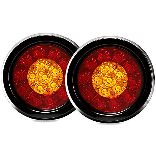 Auovo 4'' Inch Round LED Truck/Trailer Amber/Red Taillights with Rubber Grommet 16LED DC 12V Waterproof Stop Brake Running Turn Signal Lights Tail Lamps for RV Trailer(Pack of 2) (Red/Amber Lights)