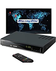 Blu-Ray DVD Player for TV, 1080P Home Theater CD DVD Blue Ray Player, Multi-Region Support, Built-in PAL/NTSC, HDMI /AV Cable/Remote Control Included photo