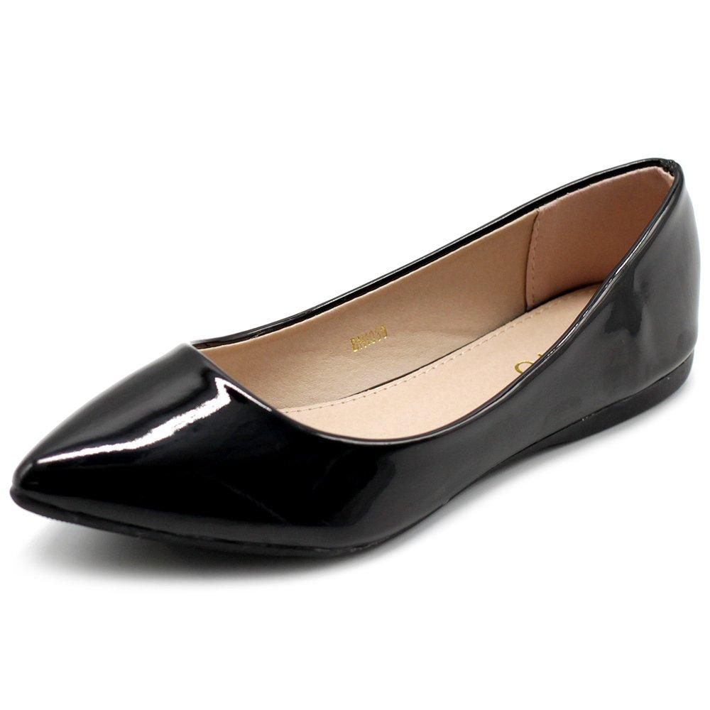 Ollio Women's Shoe Ballet Basic Pointed Toe Comfort Enamel Flat