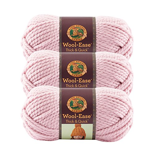 - (3 Pack) Lion Brand Yarn 640-103D Wool-Ease Thick and Quick Yarn, 97 Meters, Blossom