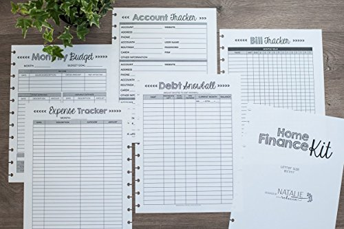 Home Finance Kit for Letter Size Disc-Bound Planners, Fits 8.5''x11'' Circa, Arc Systems, 1 Year Supply by Natalie Rebecca Design
