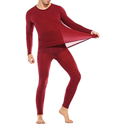 ARRIVE GUIDE Mens Winter Thin Crewneck Long Sleeve Thermal Underwear Sets