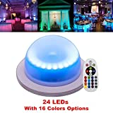 Acmee Remote Control 16 Colors Change 24 LEDs Swimming Pool Light,Rechargeable Remote Control Cordless 16 RGB Colors Decorative waterproof Lights Indoor Outdoor Night Lights for Home Garden(1 pcs)