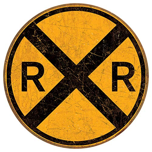 "Desperate Enterprises Railroad Crossing Tin Sign, 11.75"" Diameter"