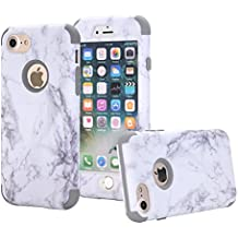 iPhone 7 case, NOKEA [Marble Pattern] Three Layer Hybrid Heavy Duty Shockproof Protective Bumper Cover Soft Silicone Combo Hard PC Case for iPhone 7 (Grey)