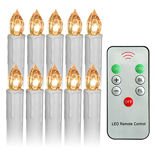 (Youngerbaby Set of 10 Warm White Flickering Battery Operated LED Taper Candle with Remote Control for Christmas Decorations/Candelabras/Candle Chandeliers-(0.7''Dia x 4''Height)Batteries Not)