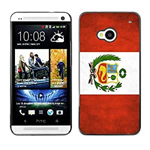 Slim Design Hard PC/Aluminum Shell Case Cover for HTC One M7 National Flag Nation Country Peru / JUSTGO PHONE PROTECTOR