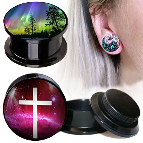 TIANCI FBYJS 3 Pair Ear Gauges Tunnel Piercing Kit Woman Earring Plugs Stretching 2G-0G Acrylic logo Expander (12mm=1/2'') 1/2' Mens Ring