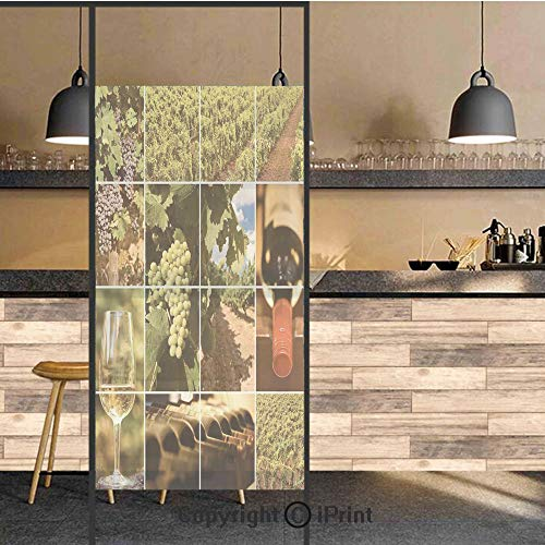3D Decorative Privacy Window Films,Vineyard Landscapes Purple Grapes French Bottle Glass Rustic Cellar Couples,No-Glue Self Static Cling Glass film for Home Bedroom Bathroom Kitchen Office 17.5x71 Inc