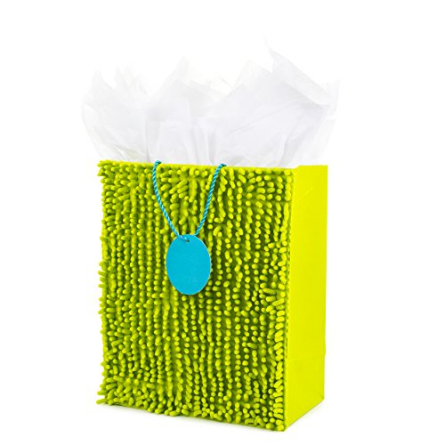 Hallmark Large Gift Bag with Tissue Paper (Green Fuzzy)