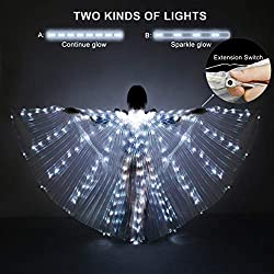 Transparent Wings White Lights Belly Dance Wing