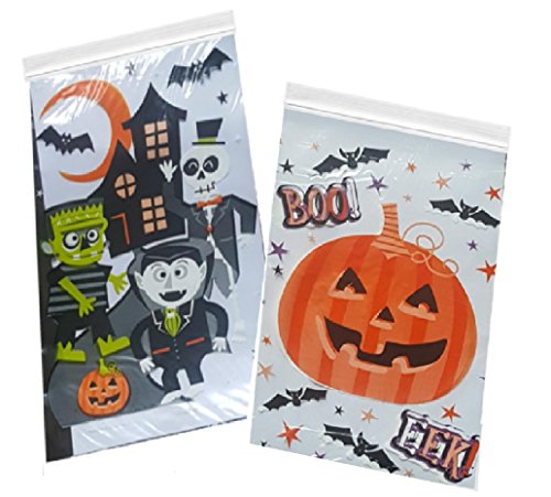 [Halloween Candy Bags - 80 Count Zipper Seal Trick or Treat Favors] (Halloween Sweet Bags)