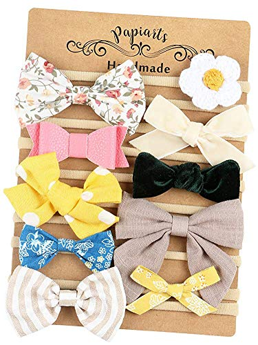 Baby Girl Headbands with Bows, Assorted 10 Packs of Hair Accessories for Newborn Toddler Girls ()